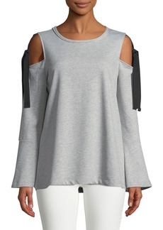 Neiman Marcus Self-Tie Cold-Shoulder Sweatshirt