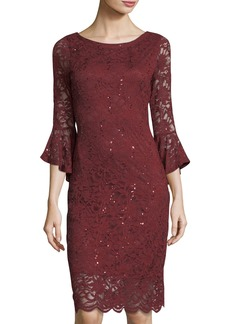 Neiman Marcus Sequin Floral Lace Bell-Sleeve Cocktail Dress