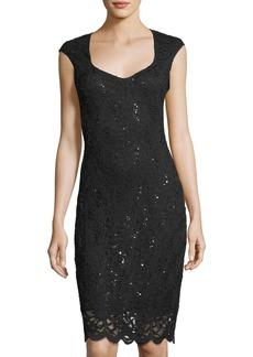 Neiman Marcus Sequin Floral Lace Cap-Sleeve Cocktail Dress