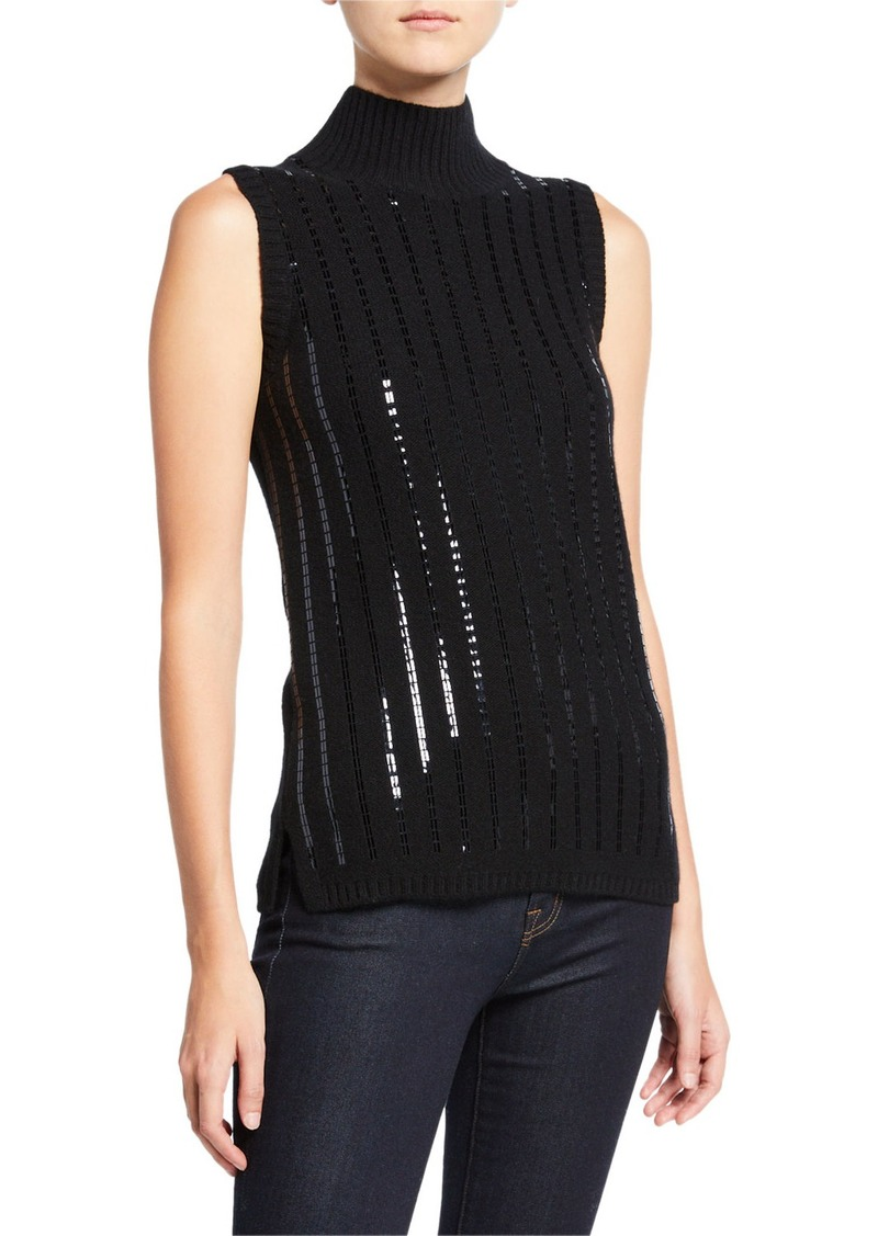 Neiman Marcus Sequin Stripe Sleeveless Cashmere Turtleneck Sweater