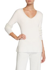 Neiman Marcus Shaker Stitch High-Low Cashmere Sweater