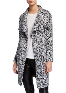 Neiman Marcus Shawl-Collar Printed Cashmere Coat