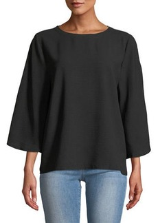 Neiman Marcus Shimmer-Seam Bell-Sleeve Blouse