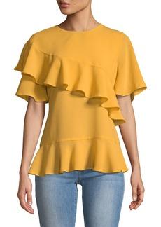 Neiman Marcus Short-Sleeve Crepe Flutter Blouse