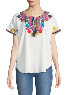 Neiman Marcus Short-Sleeve Embroidered Blouse
