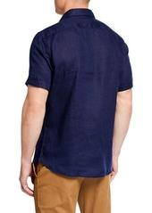 Neiman Marcus Short-Sleeve Linen Sport Shirt