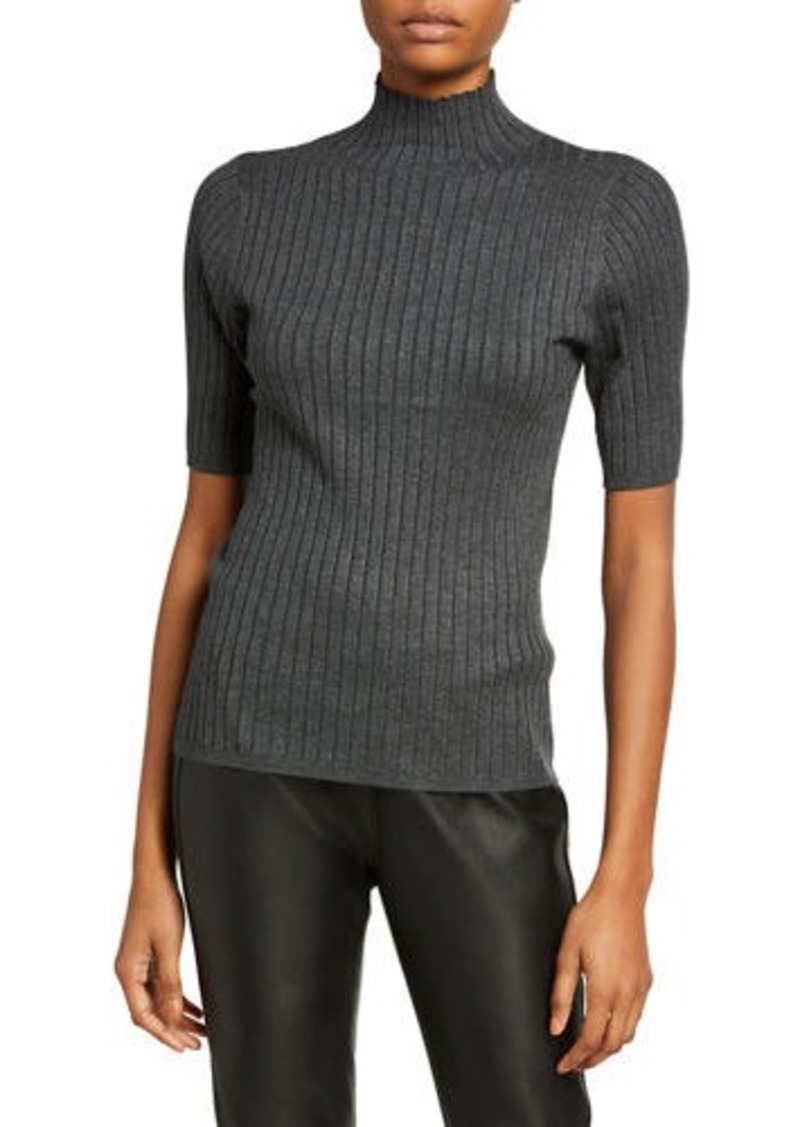Neiman Marcus Short-Sleeve Turtleneck Rib Sweater