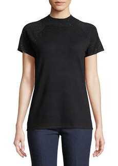 Neiman Marcus Short-Sleeved Rhinestone Sweater