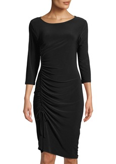 Neiman Marcus Side-Drawstring Jewel-Neck 3/4-Sleeve Body-Con Jersey Dress