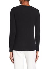 Neiman Marcus Side Ruffle Crewneck Cashmere Sweater