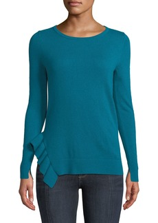 Neiman Marcus Side-Ruffle Long-Sleeve Cashmere Sweater