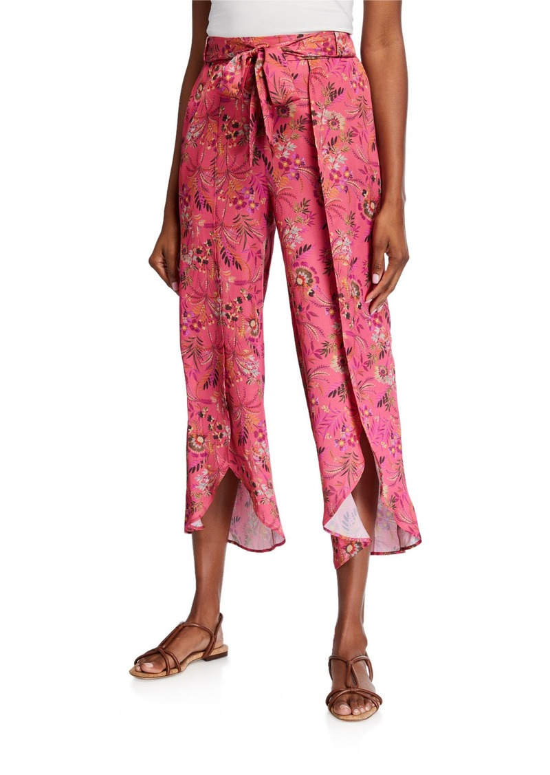 Neiman Marcus Side Slit Printed Easy Pant
