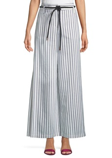 Neiman Marcus Side-Slit Wide-Leg Striped Pants w/ Rope Belt