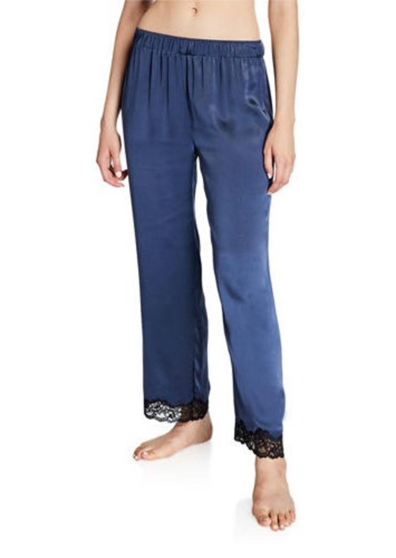 Neiman Marcus Silk Satin Lace-Trim Lounge Pants