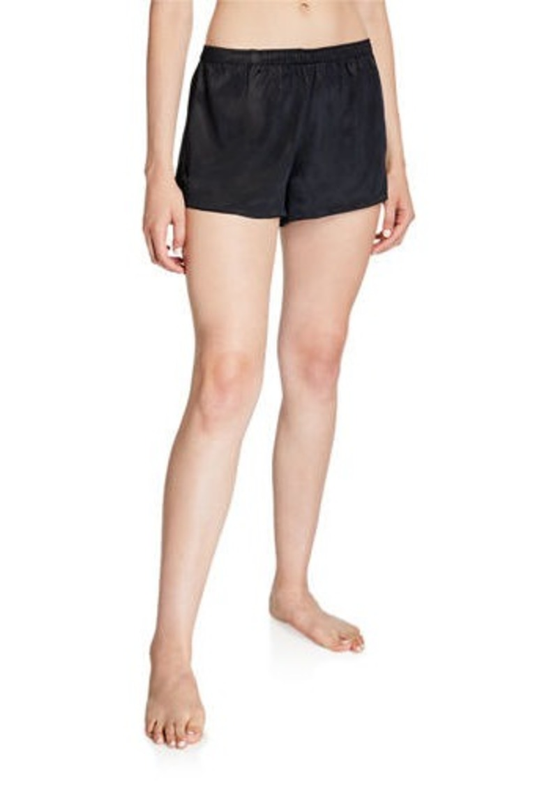 Neiman Marcus Silk Satin Motif Lounge Shorts