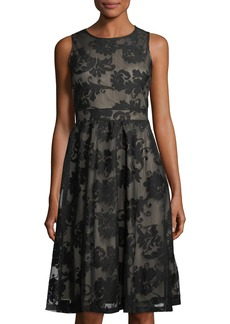 Neiman Marcus Sleeveless Damask-Print Fit-and-Flare Dress