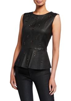 Neiman Marcus Sleeveless Embellished Leather Peplum Top