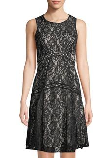 Neiman Marcus Sleeveless Lace Cocktail Dress