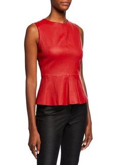 Neiman Marcus Sleeveless Leather Peplum Top