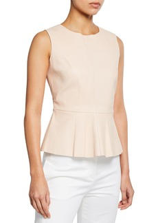 Neiman Marcus Sleeveless Leather Peplum Top