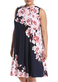 Neiman Marcus Sleeveless Mock-Neck Floral-Print Dress