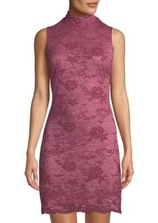 Neiman Marcus Sleeveless Mock-Neck Sheath Dress
