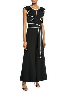 Neiman Marcus Sleeveless Ruffle Belted Jumpsuit