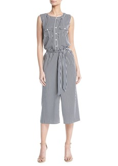 Neiman Marcus Sleeveless Striped Wide-Leg Jumpsuit