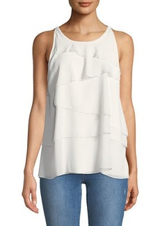 Neiman Marcus Sleeveless Tiered-Chiffon Blouse