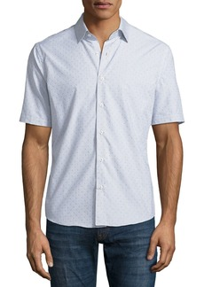 Neiman Marcus Slim-Fit Clip-Dot Short-Sleeve Sport Shirt