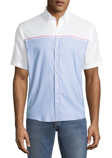 Neiman Marcus Slim-Fit Engineer-Striped Short-Sleeve Sport Shirt