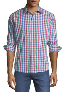 Neiman Marcus Slim-Fit Regular-Finish Multicolor Gingham Sport Shirt