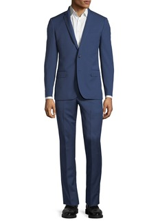 Neiman Marcus Slim Fit Super 120s Wool Twill Two-Button Two-Piece Suit