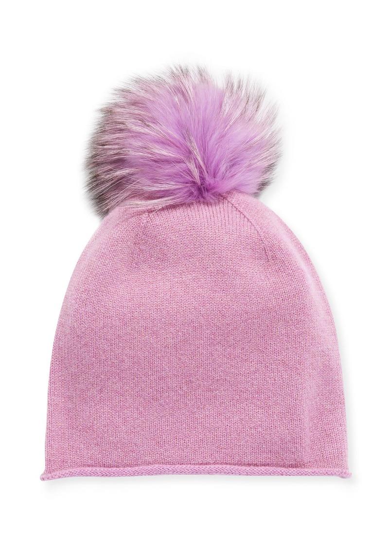 Neiman Marcus Slouchy Cashmere Fox Fur Pompom Hat