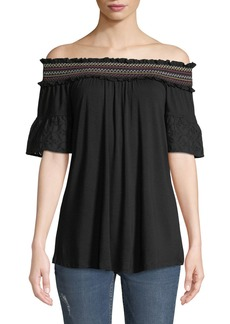 Neiman Marcus Smocked Off-The-Shoulder Blouse