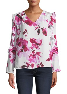 Neiman Marcus Smocked-Shoulder Floral Chiffon Blouse