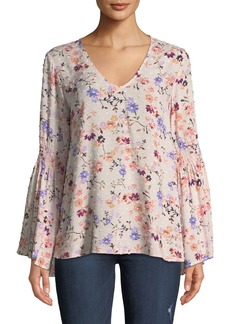 Neiman Marcus Smocked-Sleeve Floral-Print Blouse