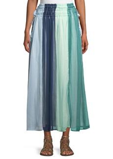 Neiman Marcus Smocked-Waist Tassel-Tie Maxi Skirt