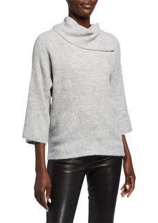 Neiman Marcus Split Cowl Neck Ribbed Pullover