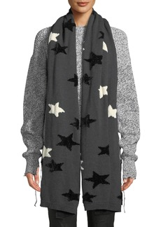 Neiman Marcus Star-Patterned Scarf w/Ribbed Trim