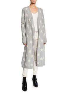 Neiman Marcus Star Printed Cashmere Cardigan