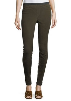 Neiman Marcus Stretch-Suede Leggings