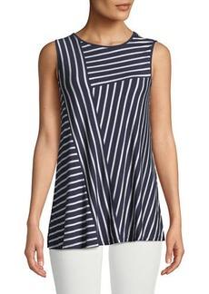 Neiman Marcus Stripe-Blocked Sleeveless Tee