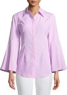 Neiman Marcus Striped Bell-Sleeve Button Front Blouse