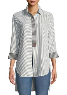 Neiman Marcus Striped Button-Front High-Low Blouse