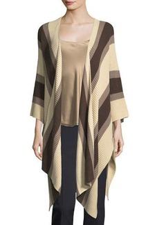 Neiman Marcus Striped Cotton Blanket Wrap