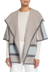 Neiman Marcus Striped Double Knit Cashmere Cardigan