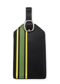 Neiman Marcus Striped Faux-Leather Luggage Tag