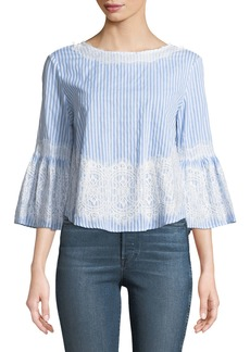 Neiman Marcus Striped Lace-Embroidered Blouse