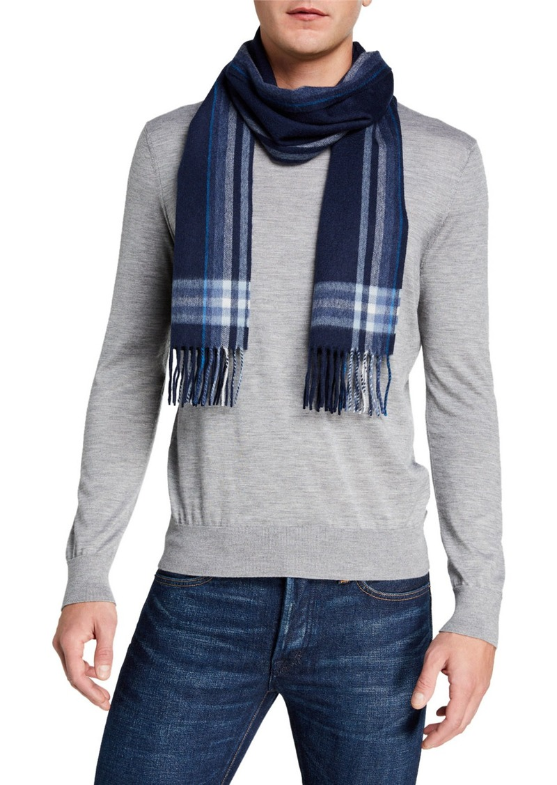 Neiman Marcus Striped Plaid Cashmere Scarf